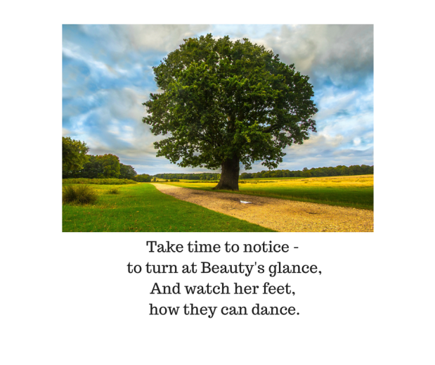 Take time to notice - to turn at Beauty's glance,And watch her feet, how they can dance.